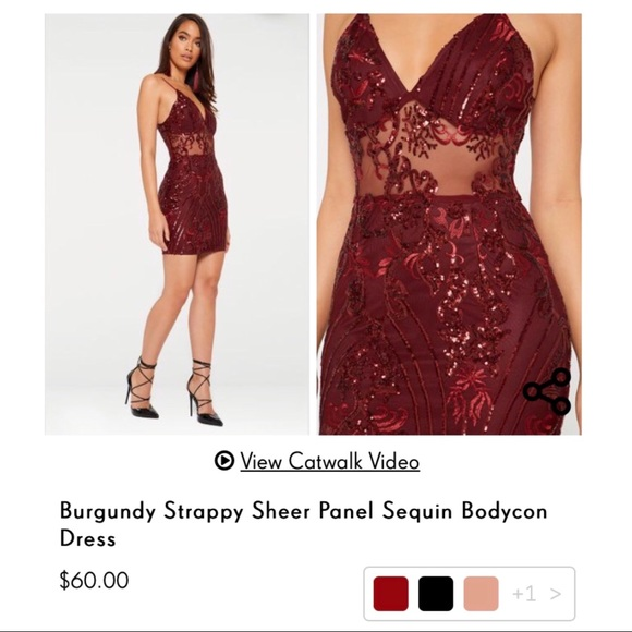 07da50f06873 Burgundy Strappy Sheer Panel Sequin Bodycon Dress. PrettyLittleThing.  M_5ba5efc2534ef953dfaea447. M_5ba5efc145c8b3569c2f1acd